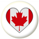 Canada Country Flag Heart 25mm Pin Button Badge